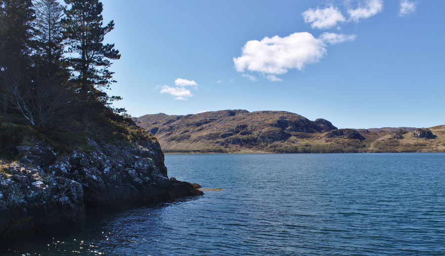 Scotland No People Day Poolewe Loch Ewe Sunny Travel Destinations Clouds Trees Water Landscape