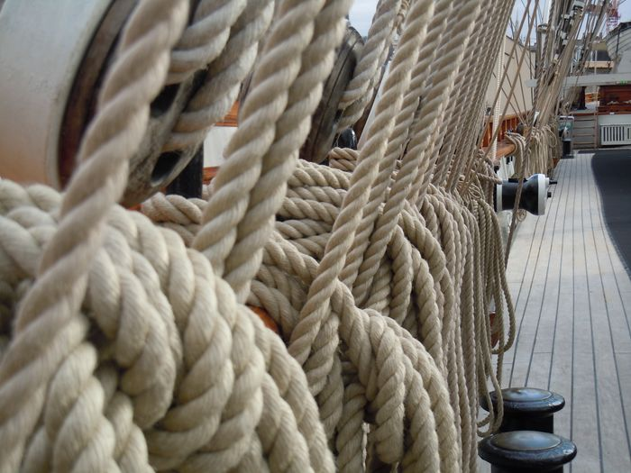 Close-up of ship rigging wires on boat