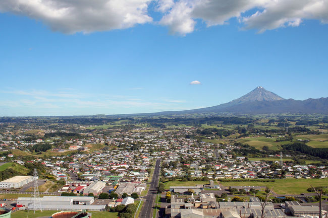 View over New Plymouth from Paritutu Rock; with a view of Mount Taranaki. New Zealand Clear Sky Landscape_Collection Mount Egmont Paritutu Rock City Cityscape Cloud - Sky Day Landscape Mount Taranaki Mountain New Plymouth No People Outdoors Paritutu Sky