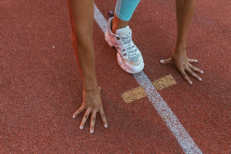 Low section of person running
