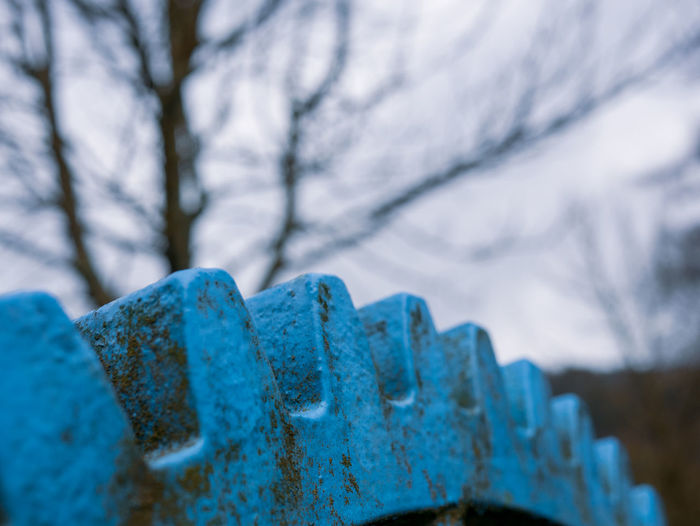 Close-up of rusty metal during winter