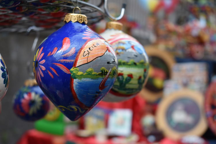 Close-up of decoration hanging for sale