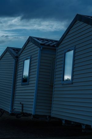 Off Season Deserted Brittany Camping Mobile Home Dawn Reflection Architecture Sky Cloud - Sky Building House No People Residential District Nature Outdoors Abandoned Land Blue Window