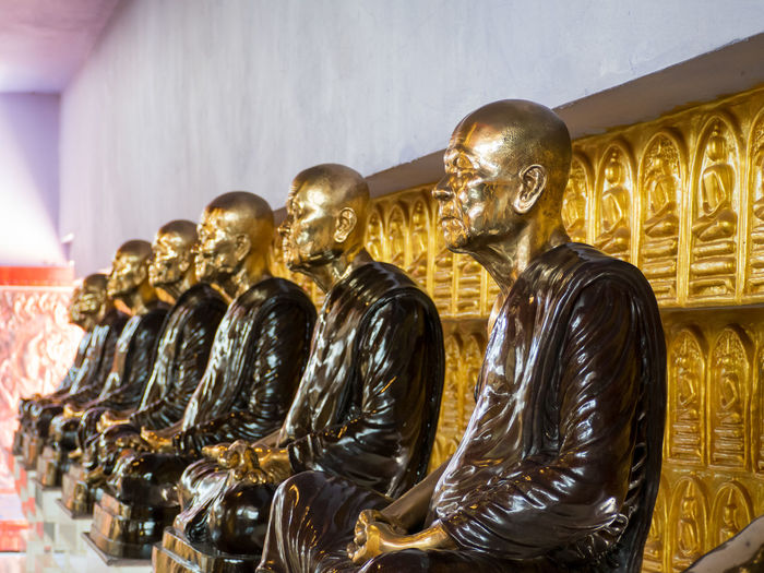 Low angle view of statues in building