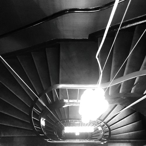 Mobilephotography Lookingdown Stairs Light And Shadow Blackandwhite Monochrome