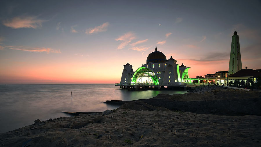Taken during sunset at Malacca, this mosque built above sea level and overlooking the Strait of Malacca Architecture Beauty In Nature Building Exterior Built Structure Day Horizon Over Water Malacca Strait Malacca UNISCO Nature No People Outdoors Scenics Sea Selat Mosque Sky Spirituality Sunset Sunset Silhouettes Water