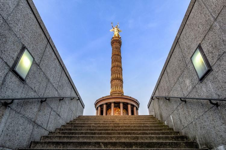Treppenaufgang Siegessäule // victory column Berlin Siegessäule  Tiergarten Angel Architecture Building Exterior Built Structure Low Angle View Nature No People Sculpture Sky Statue Victory Column