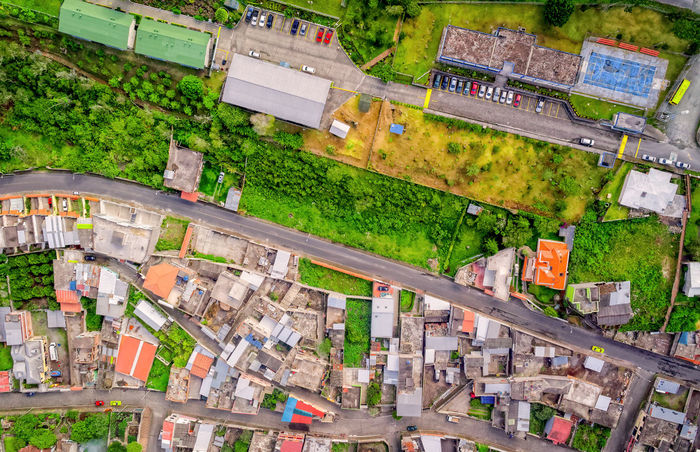 Aerial View Of Residence Districts In Banos De Agua Santa, Tungurahua Province, South America Aerial View Altitude Andes BañosEcuador Car City City Day Drone  Dronephotography Droneshot Fly Green High Angle View House Intersection Neighborhood No People Outdoor Photography Outdoors Panorama Roof South America Streetphotography Traffic