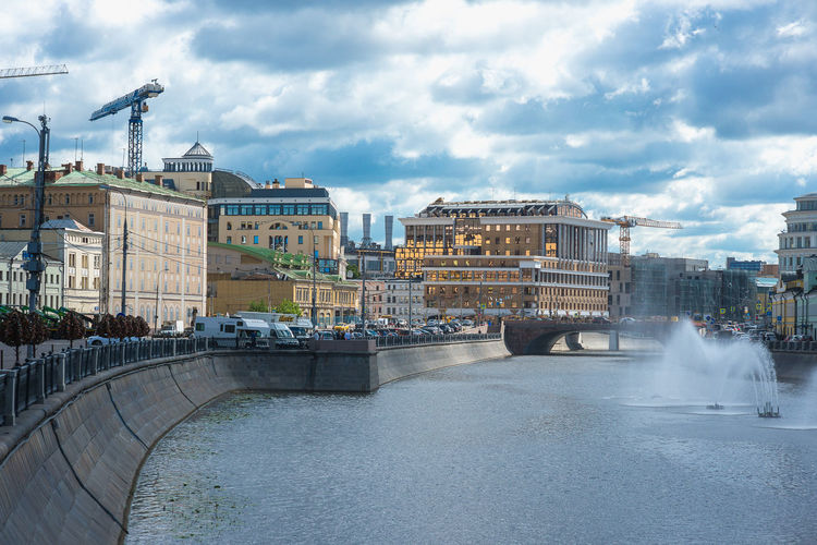 Built Structure Architecture Water Cloud - Sky Building Exterior Sky Connection Bridge City River Nature Bridge - Man Made Structure Transportation Day Waterfront Incidental People Building Outdoors Travel Destinations Power In Nature Moscow Russia