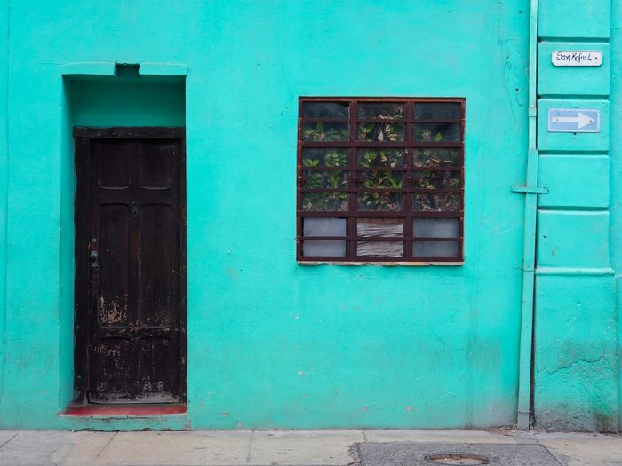 Architecture Door Entrance Built Structure Building Building Exterior Window No People House Day Residential District Closed Security Protection Safety Outdoors Old Wood - Material Green Color City Turquoise Colored Jungle Turquoise