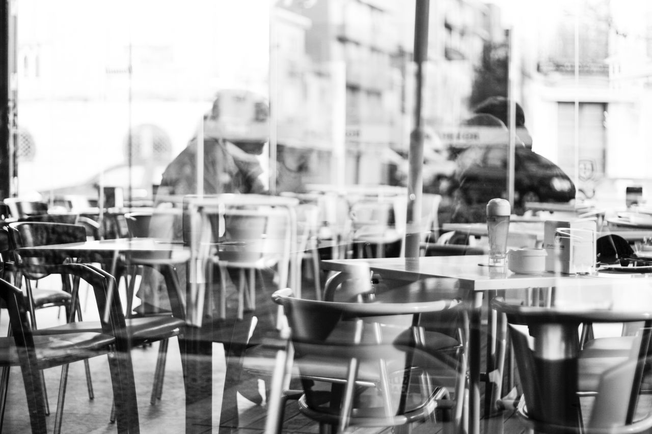 table, chair, cafe, empty, day, sidewalk cafe, outdoors, real people