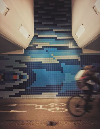 Real People Tiled Floor Architecture Illuminated EyeEmNewHere EyeEm Best Shots EyeEmNewInHere Subway Underground Bycicle Streetphotography Street Photography Street Nightphotography Nightshot Symmetrical Life EyeEmNewHere The City Light Perspectives On Nature
