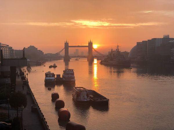Sunrise @ Tower Bridge 5 11 2018 Sky Sunset Water Built Structure Architecture Building Exterior Orange Color Nature City Sunlight Cityscape No People Outdoors Bridge Sun Reflection Travel Destinations