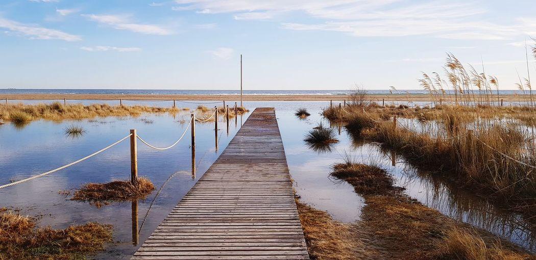 Water Flamingo Beach Lake Low Tide Pier Wooden Post Jetty Wood - Material Fishing