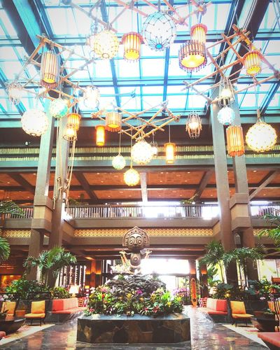 Lobby Interior Design Resort Polynesian DisneyWorld Built Structure Architecture Decoration Ceiling Hanging Indoors  Low Angle View Plant
