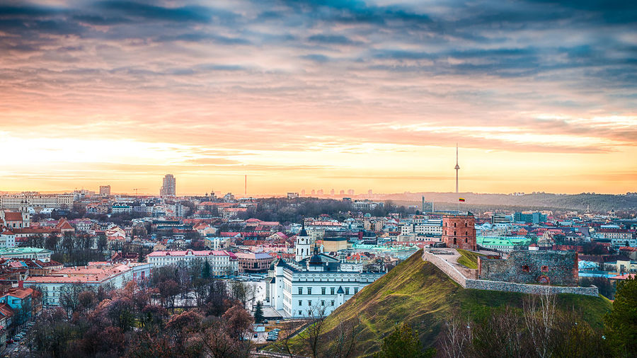 An oldtown skyline on Independece day of Lithuania Aerial View Architecture City Cityscape Cloud - Sky Gediminas Tower High Angle View Independence Independence Day Lithuania Sky Sunset Three Crosses Three Crosses Hill Travel Destinations Urban Skyline Vilnius Vilnius Cathedral Vilnius Old Town