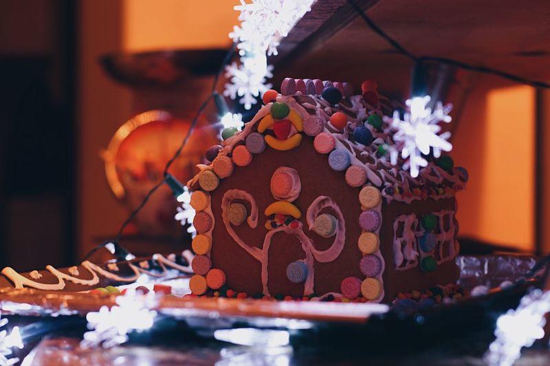 Close-up of illuminated ginger christmas house