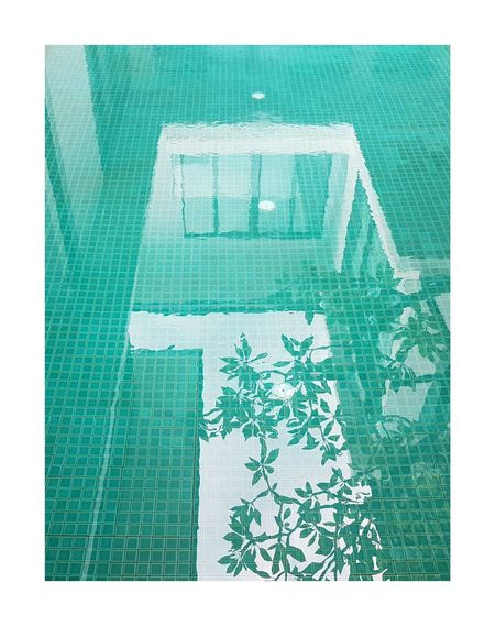 No People Day Water Reflection Green Color Mosaic Tiles Full Frame White Frame