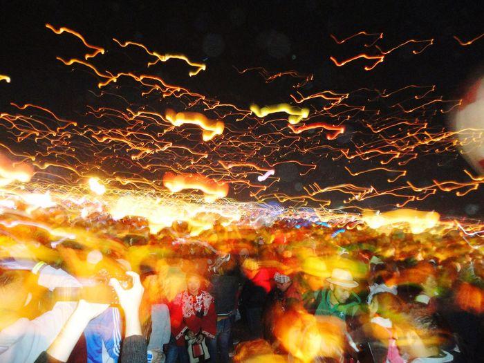 festival Crowd Multi Colored Illuminated Motion Celebration Sky Close-up