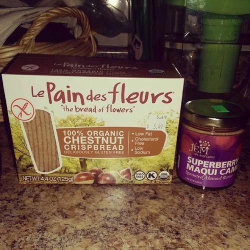 Lepaindesfleurs Organic Chestnutcrispbread Jemraw superberry maqui camu sprouted almondbutter yummmm