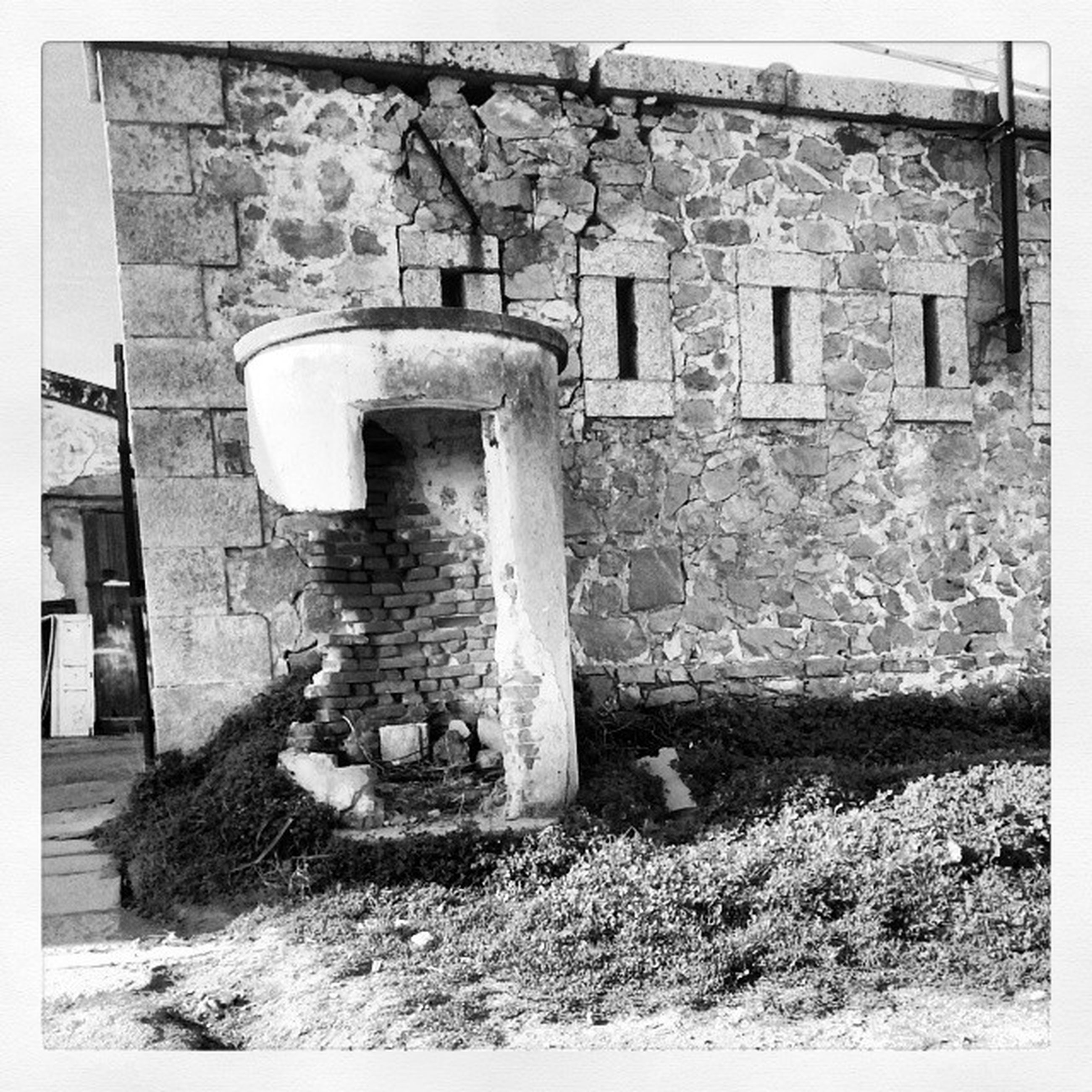 transfer print, architecture, building exterior, built structure, auto post production filter, abandoned, old, obsolete, damaged, run-down, deterioration, house, weathered, wall - building feature, brick wall, window, building, stone wall, bad condition, wall