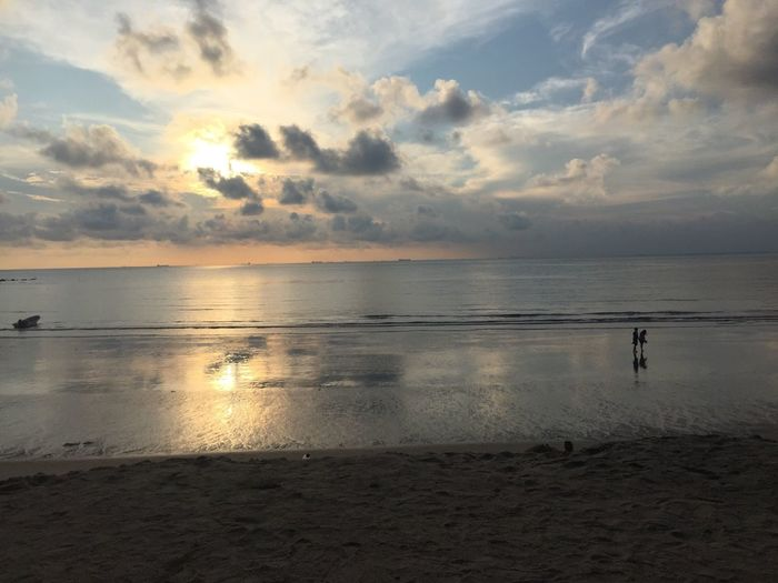 Sunrise at beach Beach Sea Water Nature Beauty In Nature Horizon Over Water Sky Tranquil Scene Cloud - Sky Tranquility Sand Outdoors Scenics
