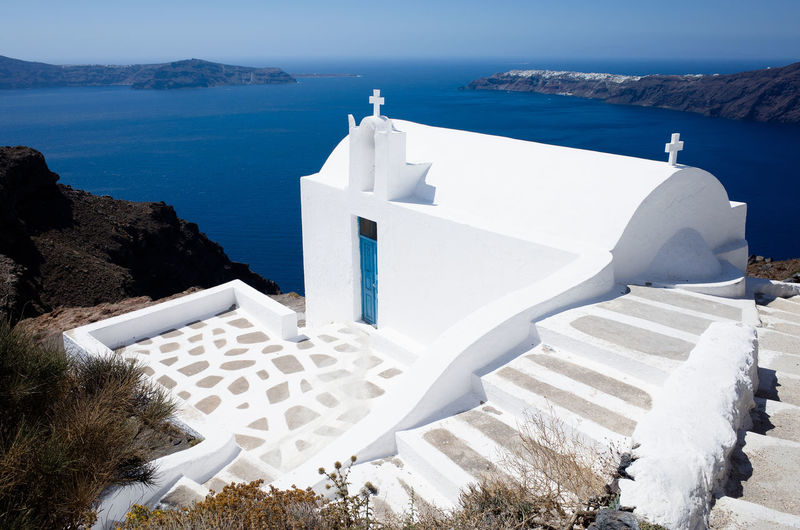 Architecture Bell Tower - Tower City Day Greece No People Outdoors Place Of Worship Religion Santorini Santorini, Greece Spirituality Sunlight Travel Travel Destinations White Color Whitewashed
