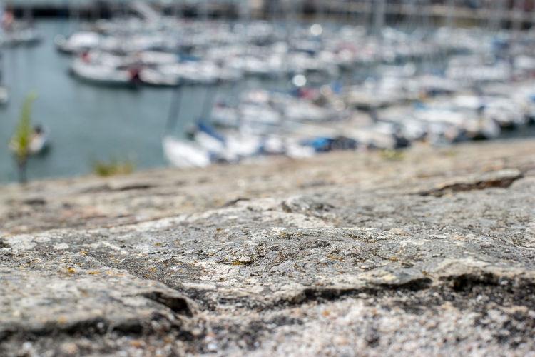 Close-up of rock at harbor