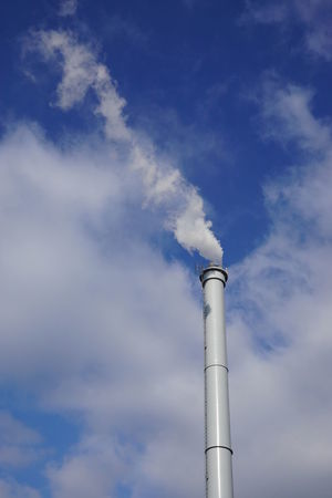 Air Blue Chimney Cloud Copy Space Day Low Angle View Outdoors Pollution Sky Smoke Smokestack Stack Steal Steam Tall - High Vertical White