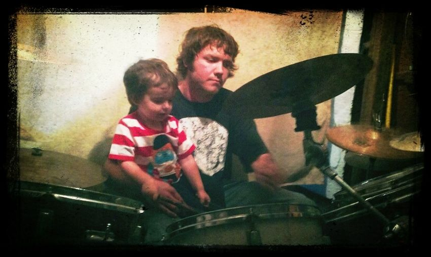 max and daddy playing drums