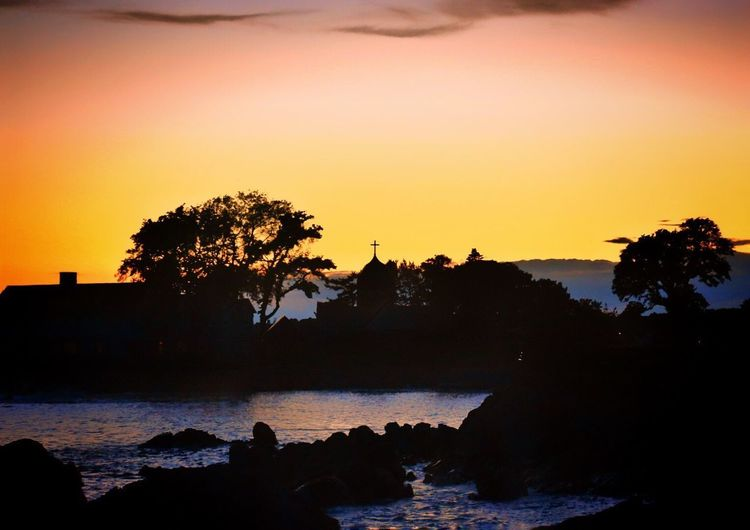 Kennebunkport Maine Atlantic Ocean Sunset Silhouette Water Beauty In Nature Tranquil Scene Reflection Sky Sea Church Stannsepiscopalchurch Mainethewaylifeshouldbe