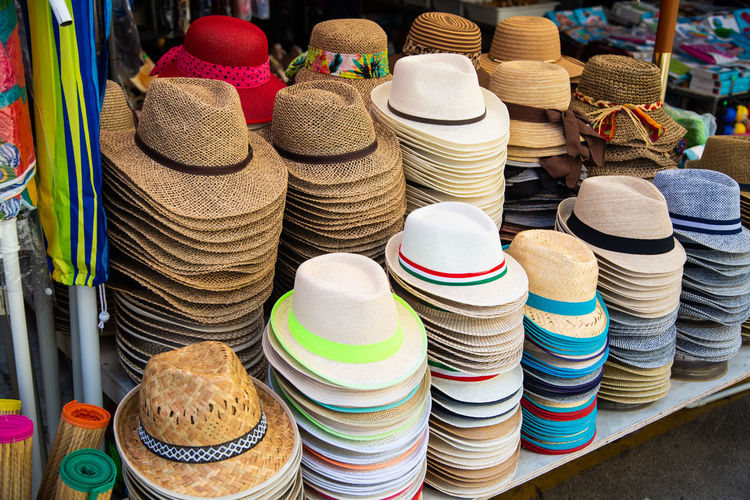 Close-up of hats on table for sale