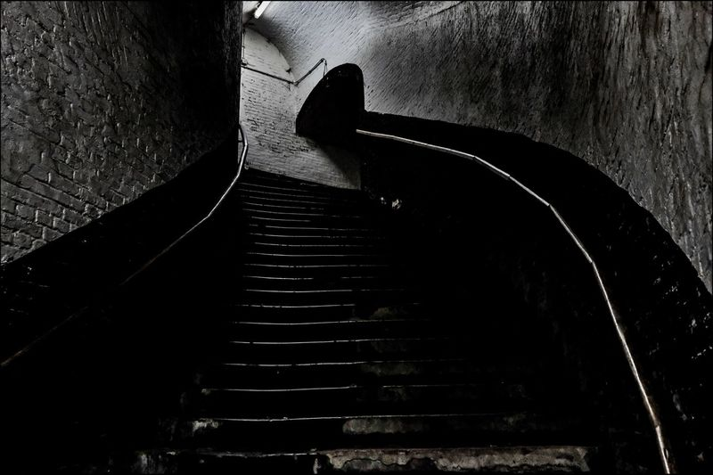Staircase Blackandwhite Fortress Europe Steps Steps And Staircases Staircase The Way Forward Tunnel Shadow Built Structure Hand Rail Indoors  Architecture No People