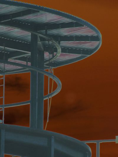 Architecture Cat Circular Close-up Construction Corrugated Metal Day Ladder No People Outdoors Roof Steel Studs