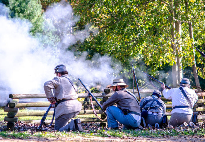 oct 8, 4th Annual Mooresville Civil War Days , South Haven, Michigan; southern soldiers fight against the north in this civil war reenactment Acting Actors Camping Civil War Event Fight Michigan, USA Nature Soldiers USA Uniforms Union Civil War History Editorial  Group Of People Guns History Men North Vs South Outdoors People Real People Reenactment Southern Soldiers Weopons