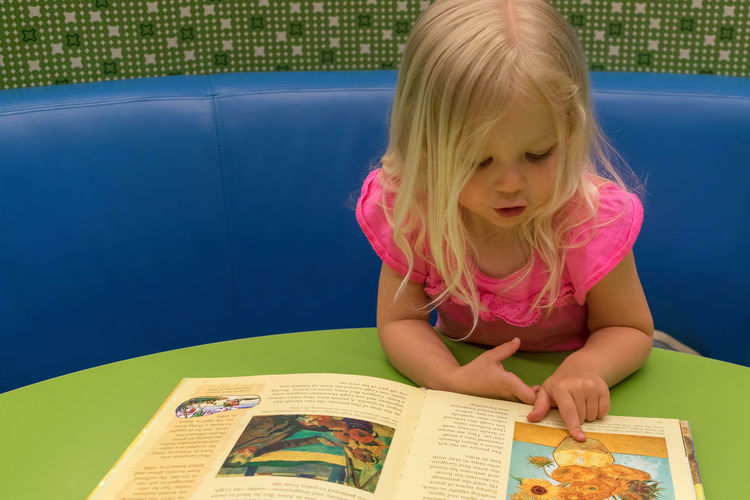 Young girl looking at picture book at the library Kids Learning Learning Center Library Picture Book Preschool The Arts Young Art Appreciation Blond Hair Book Child Child Development Childhood Early Childhood Education Educational Famous Artwork Front View Leisure Activity Lifestyles Literacy Pointing Preschooler School