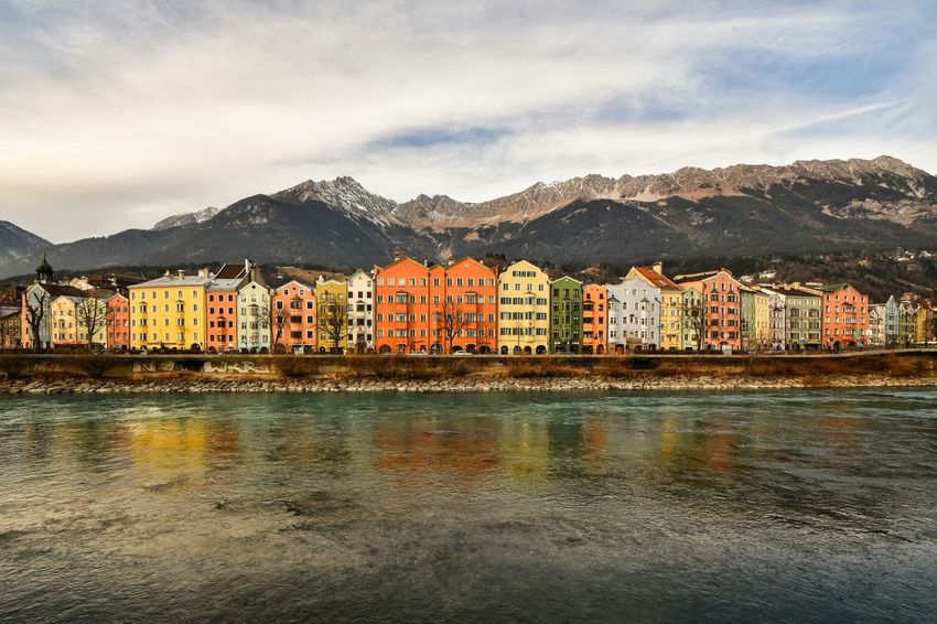 Innsbruck Reflection Water Sunset Mountain Sky Architecture Outdoors Cold Temperature Mountain Range Landscape Cloud - Sky Tyrolean Adventures Austria Austrianphotographers Austria Alps Innsbruckmarketing Viewporn View