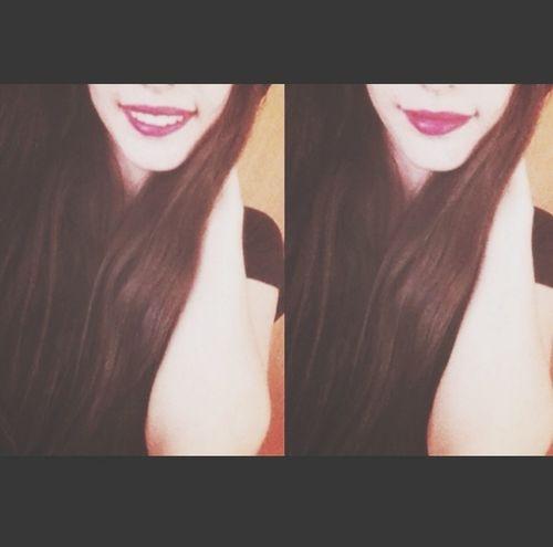 ? Red Lips Long Hair Cute♡
