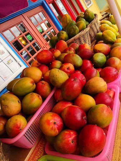 Full frame shot of apples in basket at market