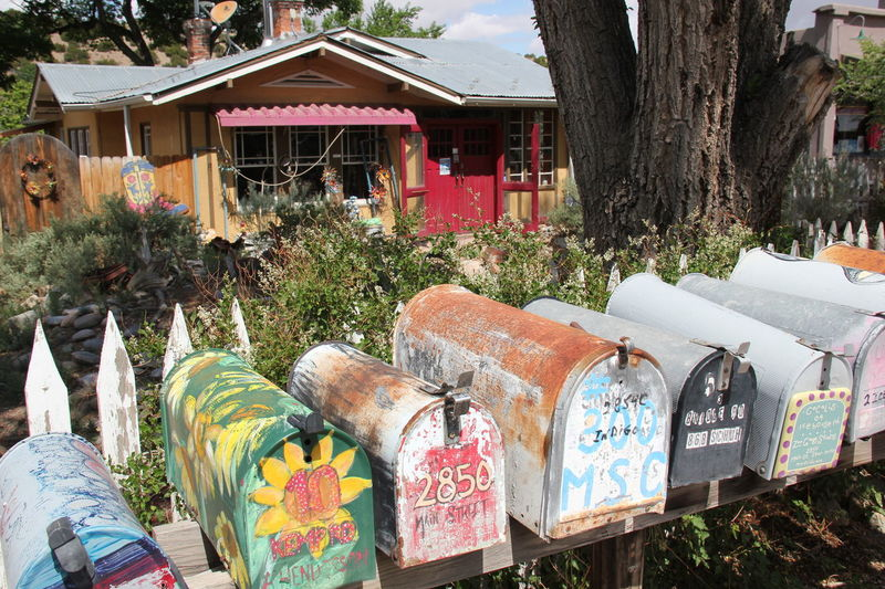 Architecture Colorful Madrid, NM Mailboxes New Mexico Picket Fence Sunlight ın A Row
