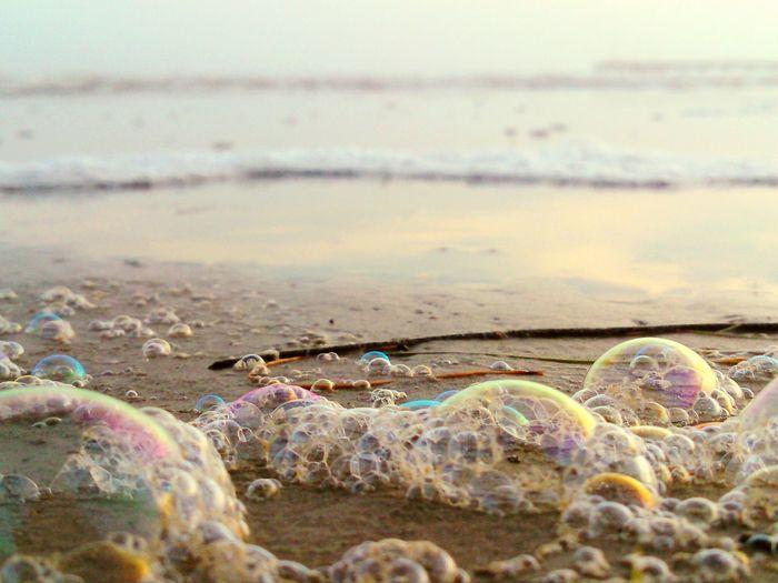 My Best Photo 2015 Bubbles... Bubbles...Bubbles.... Reflections Multiple Layers Multi Colored Sand And Ocean Pop..pop