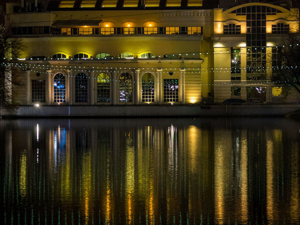 Russia, Moscow, Chistye Prudy, the restaurant is Clean ponds, a Park Architecture Built Structure Illuminated Indoors  Night No People Reflection Russia, Moscow, Chistye Prudy, The Restaurant Is Clean Ponds, A Park Water