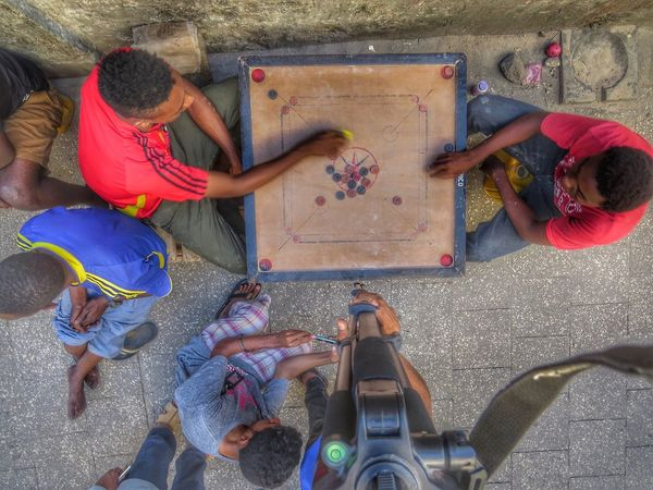 Children playing local games in Zanzibar island Africa Childhood High Angle View Day Africa Carromboard First Eyeem Photo