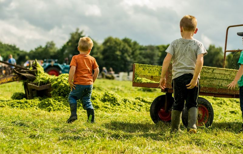 Farm Grass Blond Hair Boys Casual Clothing Childhood Day Elementary Age Field Full Length Grass Nature Outdoors People Play Real People Rear View Sky Togetherness Two People The Week On EyeEm