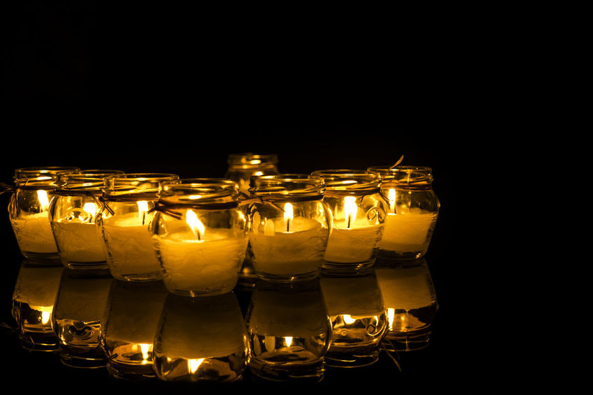 Black Background Candle Candle Flame Candle Light Candles.❤ Group Of Objects Order Repetition Still Life Studio Shot