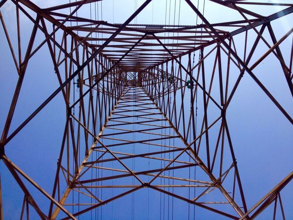 Blue Wave Tower Towers And Sky Electricity Tower Electric Tower  Low Angle View High Lines And Shapes LINE