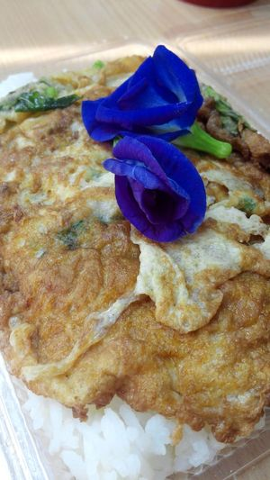 Simple breakfast EyeEmNewHere Fried Egg Thai Style Butterfly Pea Herb Fried Eggs Fried Eggs Flower Homemade Close-up