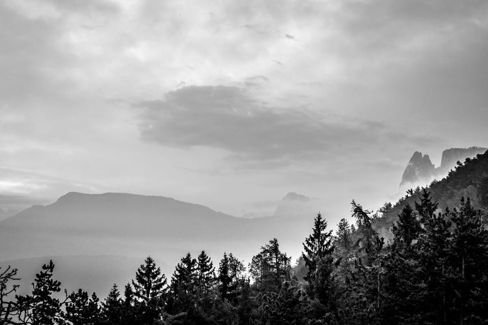 Beauty In Nature Black And White Cloud - Sky Cloudy Day Dolomites, Italy Fog Landscape Langkofel Majestic Mountain Mountain Range Nature No People Non-urban Scene Outdoors Overcast Physical Geography Santner Spitze Scenics Schlern Sky Tranquil Scene Tranquility Weather