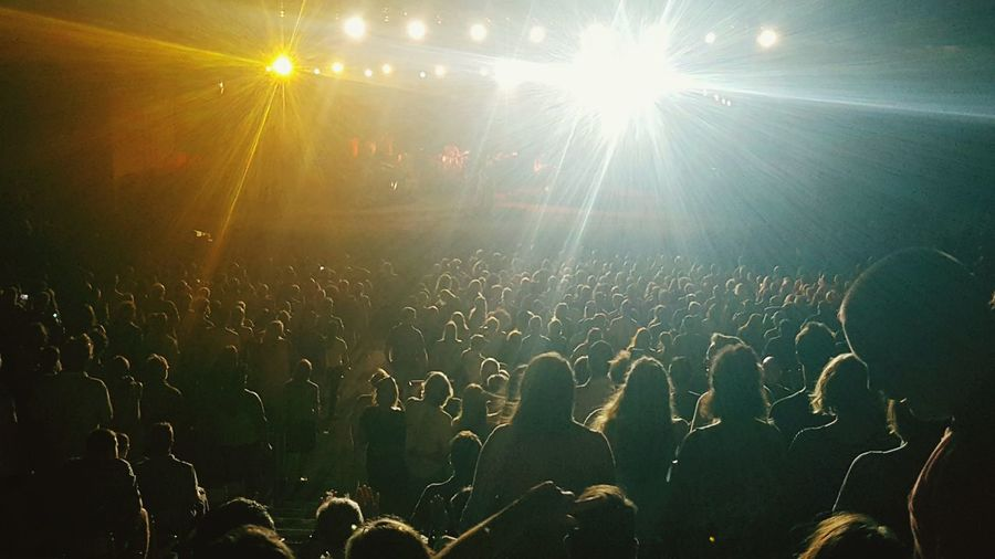 Rear view of people enjoying in concert