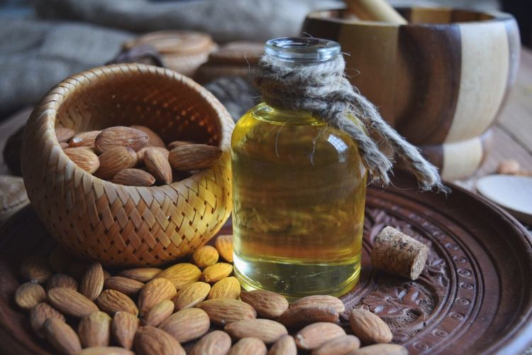 Basket Food No People Indoors  Freshness Day Close-up Healthy Eating Body Care Essentialoils Beautycare Almonds Nutrition Bottle